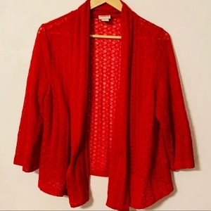 Ruby Rd. Knit Open Front Red Cardigan XL